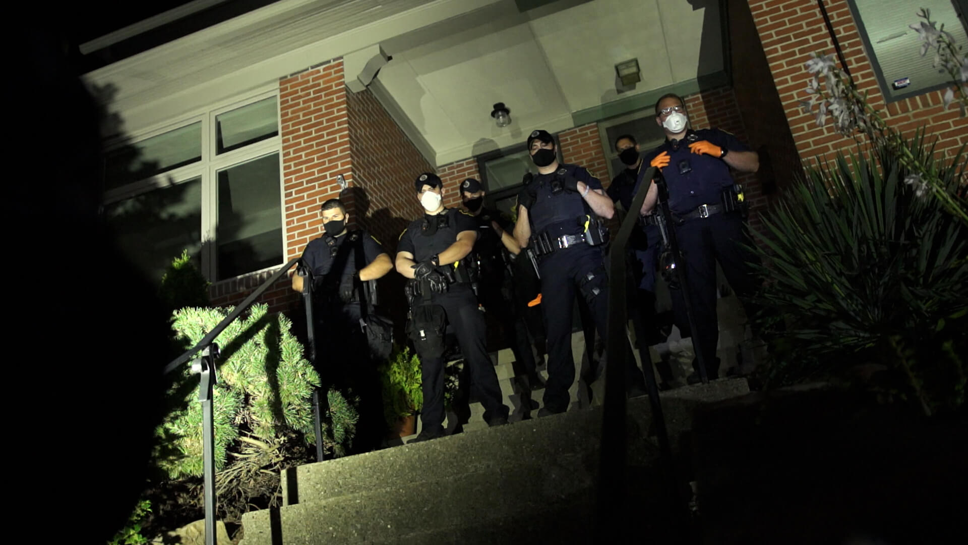 Police stand guard outside the entrance to Mayor Bill Peduto's home on Sept. 5.
