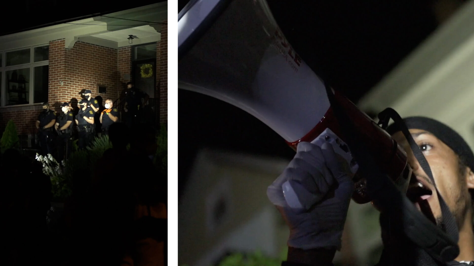 Left: Protesters gathered outside the home of Mayor Bill Peduto on Sept. 5. Right: Independent activist Lorenzo Rulli speaks through a megaphone as fellow demonstrators protest outside Mayor Bill Peduto's home.