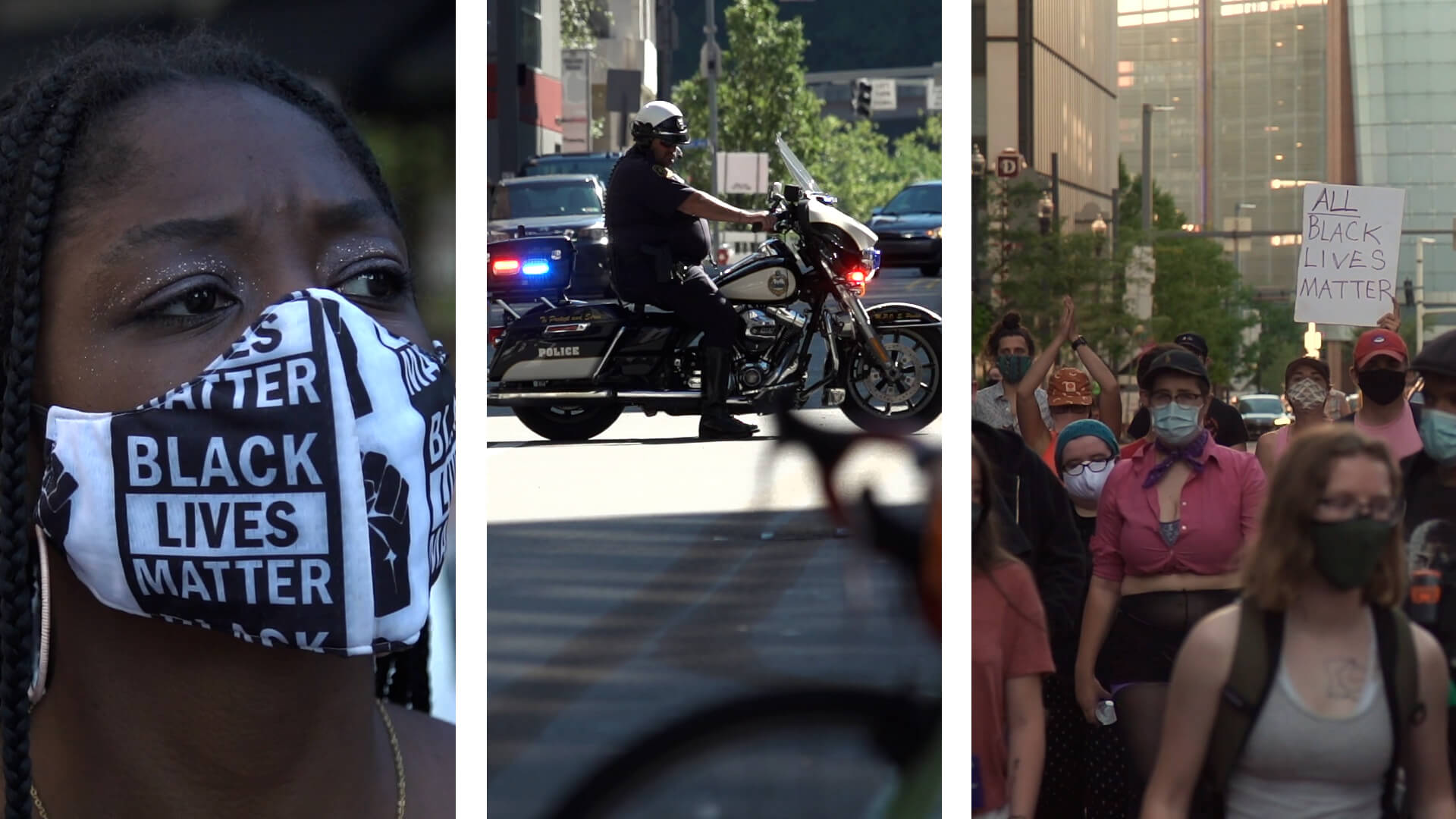 From left: A woman in a Black Lives Matter mask. A police officer on a motorcycle. Protesters walk down a Pittsburgh street.